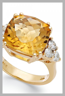 14k Gold Ring, Citrine (7 ct. t.w.) and Diamond (5/8 ct. t.w.) Cushion-Cut Ring<br><span style='text-align: center;'>$2310.00 macys.com</span>