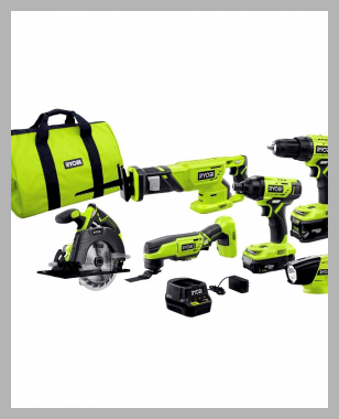 18-Volt ONE+ Lithium-Ion Cordless 6-Tool Combo Kit with (2) Batteries, Charger, and Bag<br><span style='text-align: center;'>$199.00 homedepot.com</span>
