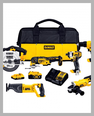 20-Volt MAX Lithium-Ion Cordless Combo Kit (6-Tool) with 2 Ahr Battery, 4 Ahr Battery, Charger and Bag<br><span style='text-align: center;'>$449.00 homedepot.com</span>