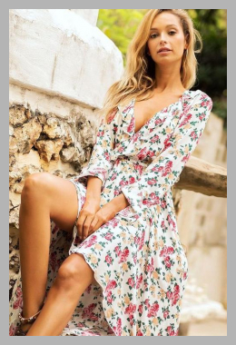 ALISO <br>Flower Print Long-Sleeve Midi Dress <br> YesStyle<br><span style='text-align: center;'>$15.12 yesstyle.com</span>