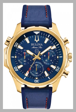Bulova Men`s Chronograph Marine Star Blue Leather  Silicone Strap Watch 43mm<br><span style='text-align: center;'>$427.50 macys.com</span>