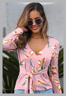 Dresswel Women Floral Printed V Neck Long Sleeve Belt Casual Blouse Tops<br><span style='text-align: center;'>$13.99 dresswel.com</span>