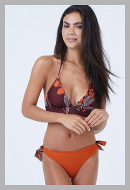 Gaviota Reversible Triangle Bikini Top - Purple/Dark Orange<br><span style='text-align: center;'>$75.99 bikini.com</span>