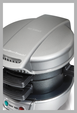 Hamilton Beach Breakfast Sandwich Maker<br><span style='text-align: center;'>$24.99 walmart.com</span>