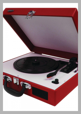 JENSEN JTA-410-R Portable 3-Speed Stereo Turntables with Built-in Speakers (Red) Price Rank ( 0 )