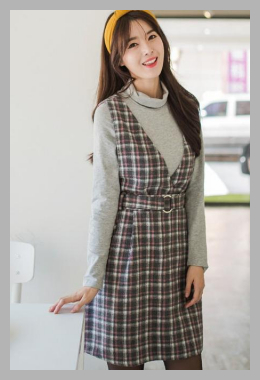 OrangeBear <br>Belted Flannel Plaid Vest Dress <br> YesStyle<br><span style='text-align: center;'>$46.71 yesstyle.com</span>