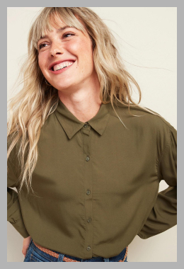 Oversized Soft-Woven Twill Tunic Shirt for Women<br><span style='text-align: center;'>$16.97 gap.com</span>