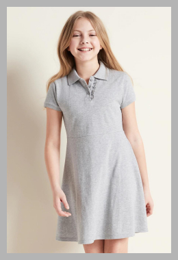 Pique-Knit Uniform Polo Short-Sleeve Dress for Girls<br><span style='text-align: center;'>$13.00 gap.com</span>
