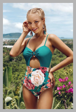 Teal and Floral One-Piece Swimsuit<br><span style='text-align: center;'>$13.99 cupshe.com</span>