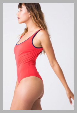 The Harlow Scoop Neck One Piece Swimsuit - Harlow Red<br><span style='text-align: center;'>$99.99 bikini.com</span>