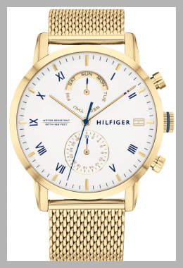 Tommy Hilfiger Women`s Gold-Tone Stainless Steel Mesh Bracelet Watch 44mm, Created for Macy`s<br><span style='text-align: center;'>$165.00 macys.com</span>