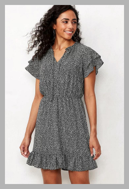 Women`s LC Lauren Conrad Ruffle-Sleeve Fit  Flare Dress, Size: Small, Black<br><span style='text-align: center;'>$14.00 kohls.com</span>