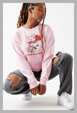 PS / LA Womens Not Your Baby Crew Neck Sweatshirt - Pink size Small<br><span style='text-align: center;'>$24.49 pacsun.com</span>