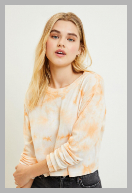 Me To We Womens Tie Dye Long Sleeve Top - Orange size Medium<br><span style='text-align: center;'>$14.95 pacsun.com</span>