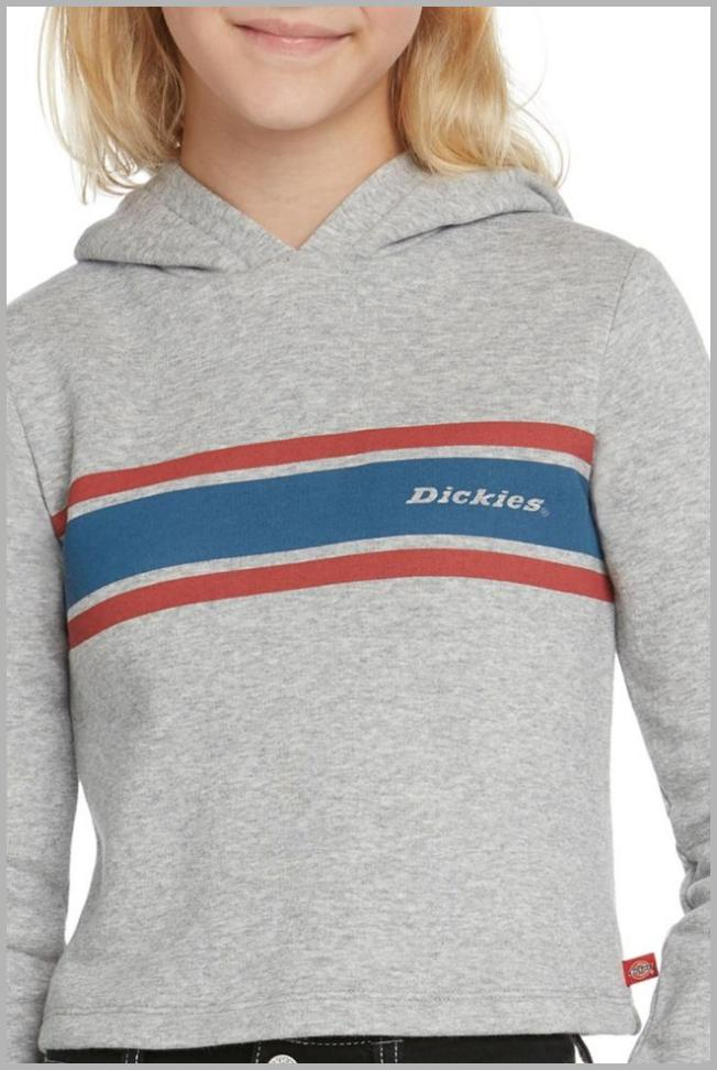 Dickies Big Girls Cropped Fleece Hoodie with Tri Color Icon Logo Price Integrity Rank ( 0 )