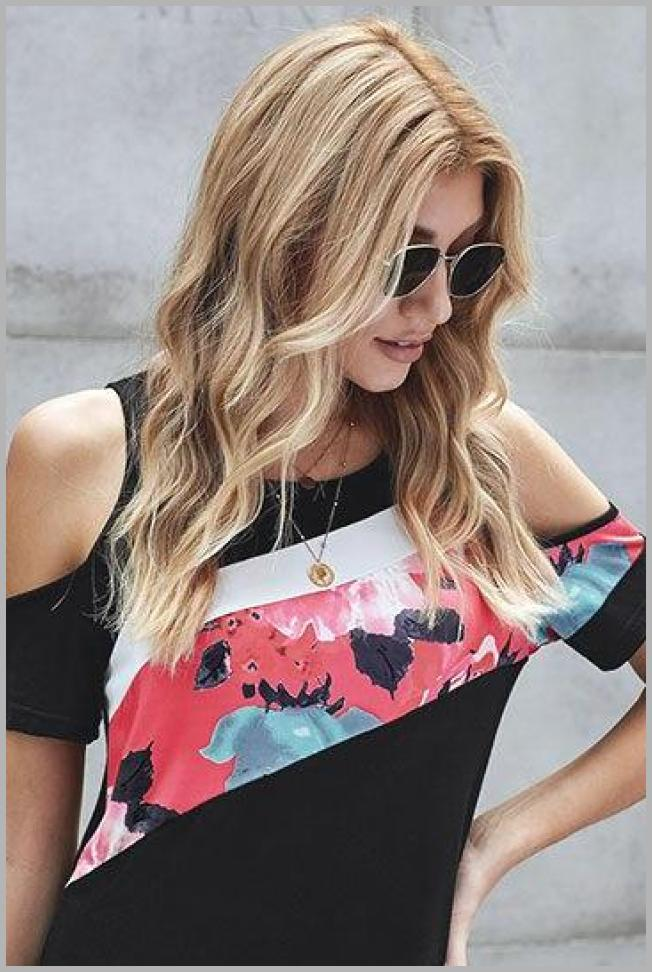 Dresswel Women Floral Print Stitching Cold Shoulder Short Sleeve T-Shirt Tops Price Integrity Rank ( 0 )