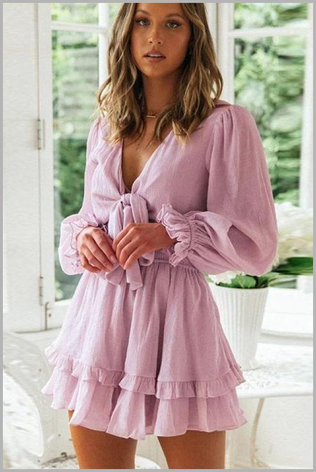 Dresswel Women Plunge Neck Knotted Front Layered Ruffles Long Sleeves Mini Dress Price Integrity Rank ( 0 )