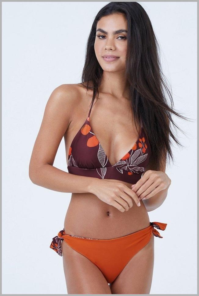 Gaviota Reversible Triangle Bikini Top - Purple/Dark Orange Price Rank ( 69  )
