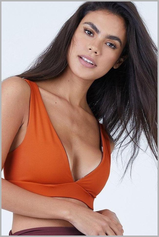 Nuqui Reversible Deep V Neck Bikini Top - Dark Orange/Maroon Price Rank ( 55  )