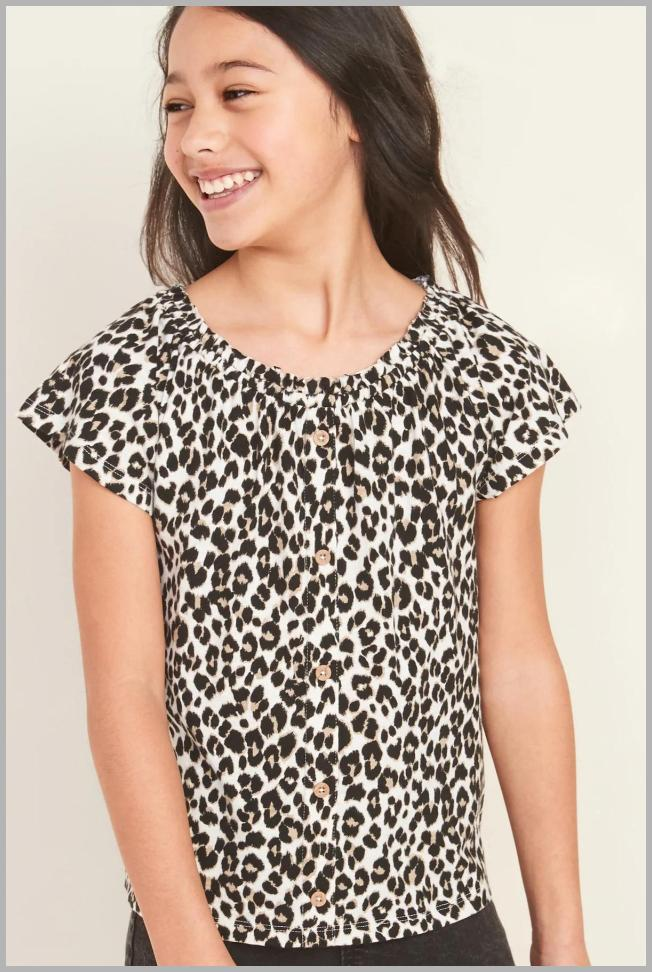 Printed Slub-Knit Faux Button-Front Top for Girls Price Rank ( 54  )