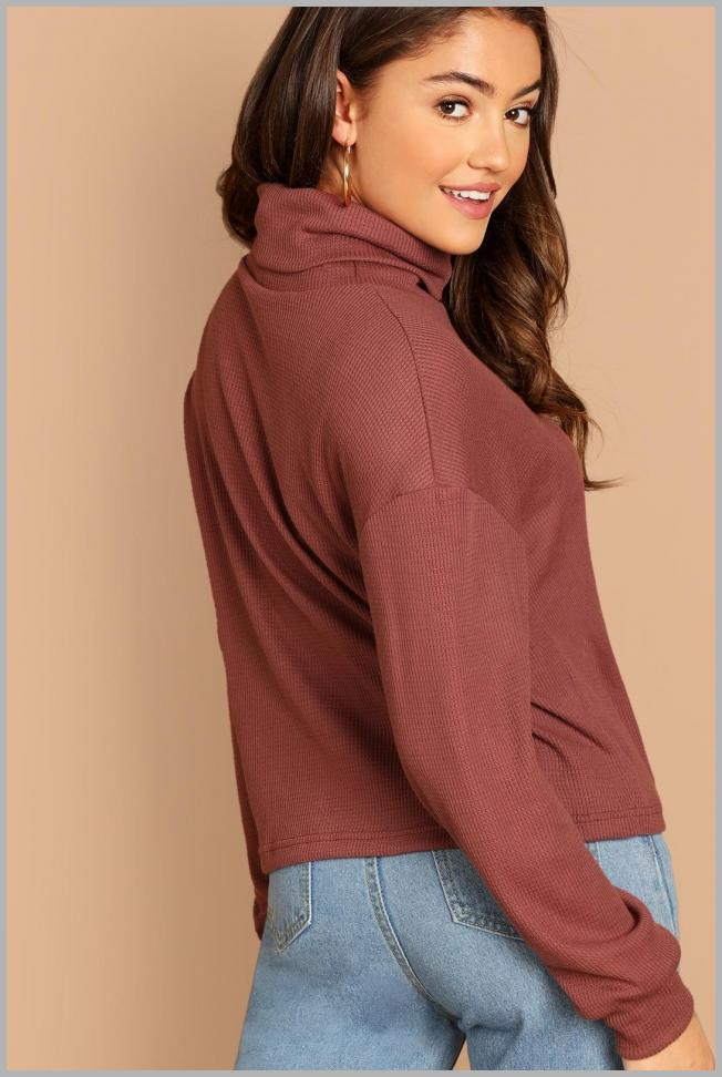 Solid Turtleneck Waffle Knit Pullover Price Rank ( 16  )