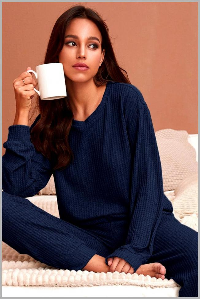 Solid Waffle Knit Lounge Set Price Integrity Rank ( 0 )