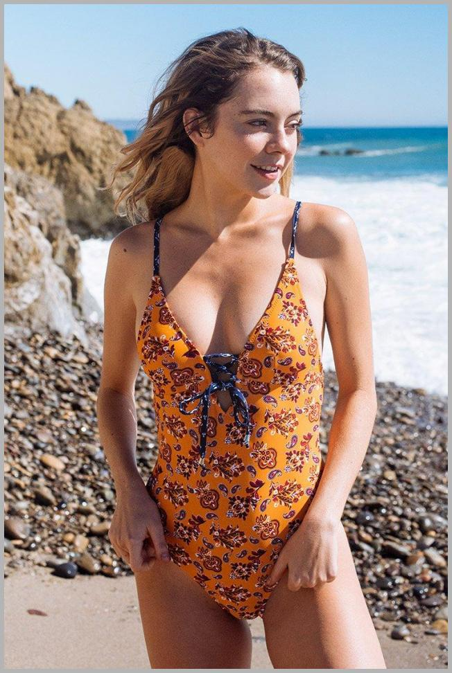 Summer Paisley Lace-Up One-Piece Swimsuit Price Rank ( 83  )