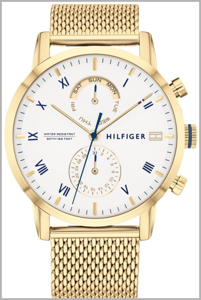 Tommy Hilfiger Women`s Gold-Tone Stainless Steel Mesh Bracelet Watch 44mm, Created for Macy`s Price Integrity Rank ( 65 )