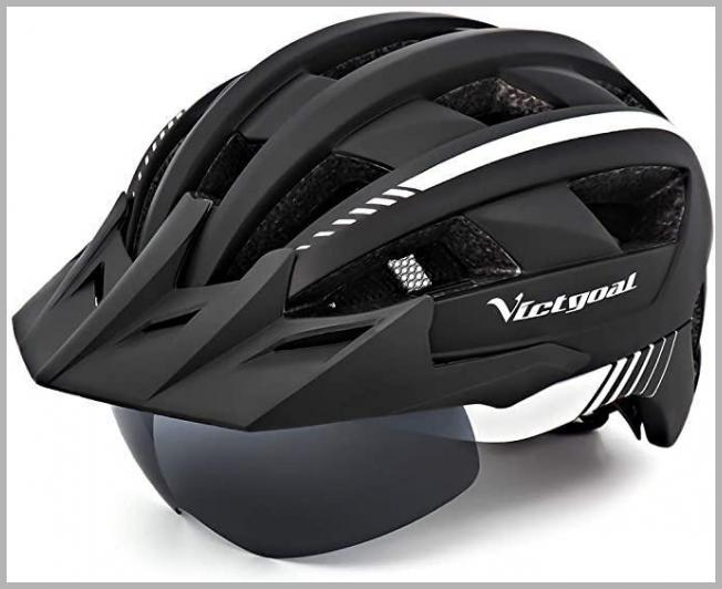 VICTGOAL Bike Helmet for Men Women with Led Light Detachable Magnetic Goggles Removable Sun Visor Mountain & Road Bicycle Helmets Adjustable Size Adult Cycling Helmets (Black White) VICTGOAL Price Rank ( 12  )