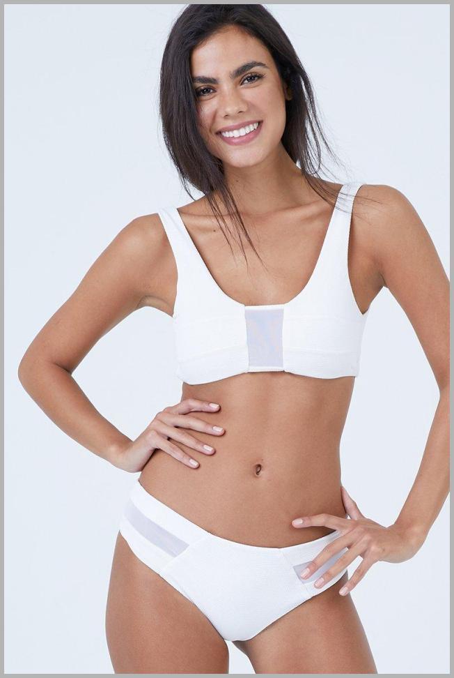Vision Mesh Bikini Top - White Waffle Price Rank ( 46  )