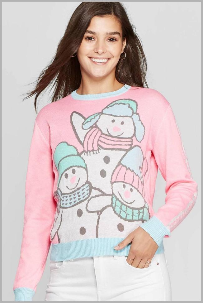 Women`s Chillin With My Snowmies Graphic Sweatshirt (Juniors`) - Pink M, Women`s, Size: Medium Price Integrity Rank ( 0 )