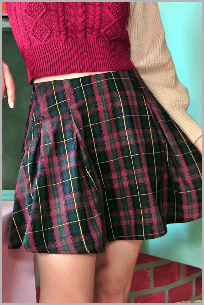 ZAFUL Plaid Pleated Mini Skirt Price Rank ( 21  )