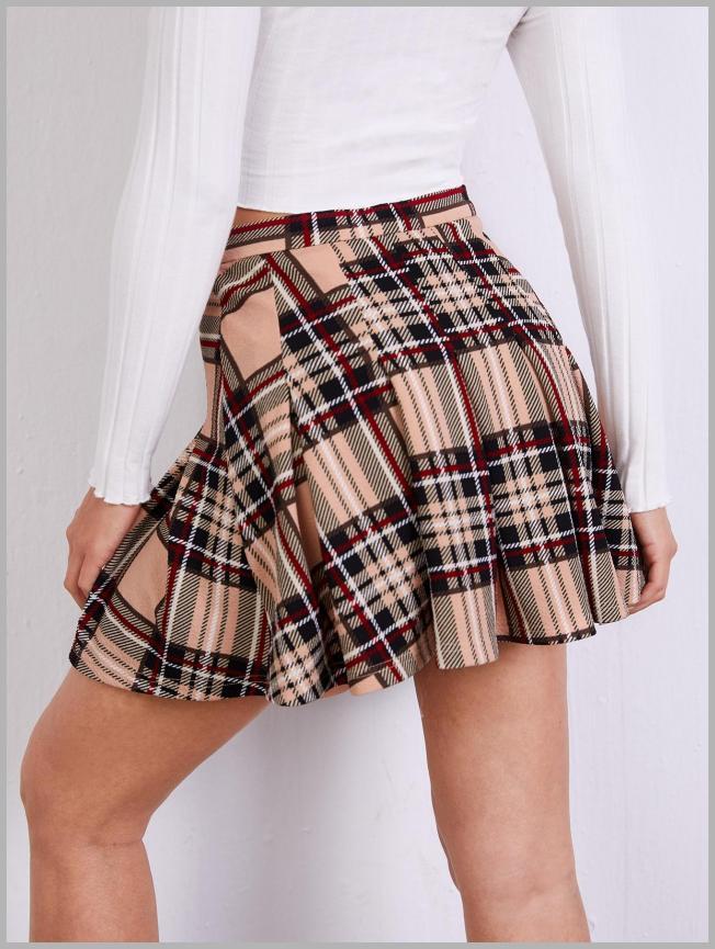 Zipper Side Boxed Pleated Tartan Skirt Price Integrity Rank ( 19 )
